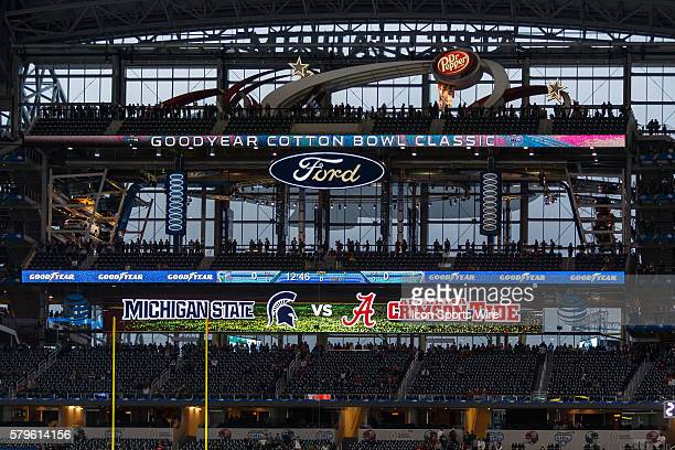 Signage prior to the NCAA College Football Playoff Semifinal Cotton Bowl between the Michigan State Spartans and the Alabama Crimson Tide played at...