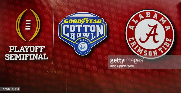 Signage prior to the NCAA College Football Playoff Semifinal - Cotton Bowl between the Michigan State Spartans and the Alabama Crimson Tide played at...