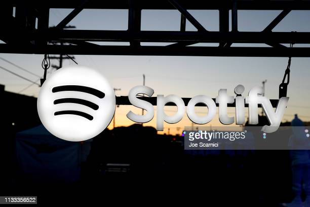 Signage seen as Spotify presents The Billie Eilish Experience at The Stalls at Skylight Row on March 28 2019 in Los Angeles California