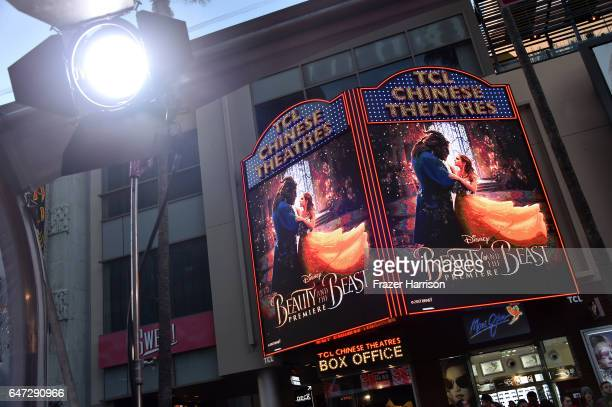 "Signage seen at Disney's ""Beauty and the Beast"" premiere at El Capitan Theatre on March 2, 2017 in Los Angeles, California."