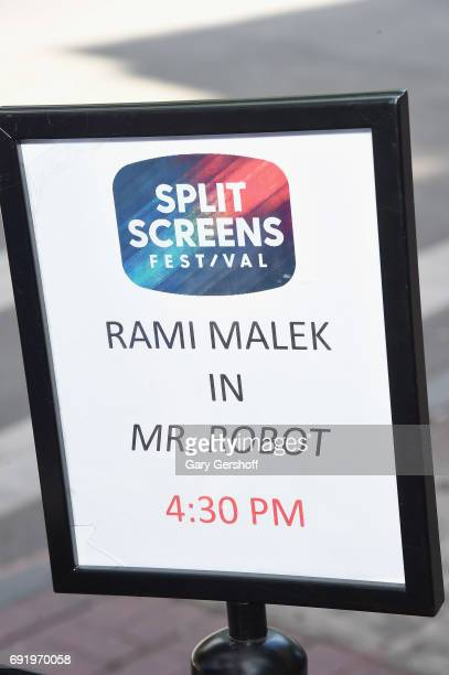 Signage seen at the 'Mr Robot' Close Up with Rami Malek during the 2017 IFC Split Screens Festival at with Rami Malek at IFC Center on June 3 2017 in...