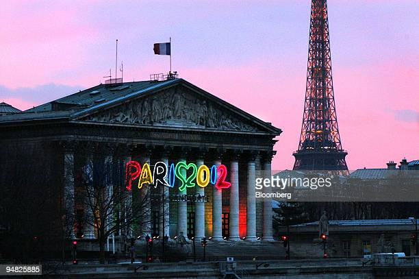 Signage seen on the National Assembly building in Paris France Monday March 7 2005 The odds on Paris winning the bid to host the summer Olympics in...
