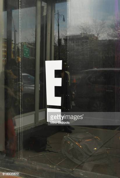 E signage seen oustide of New York Fashion Week The Shows on February 14 2018 in New York City