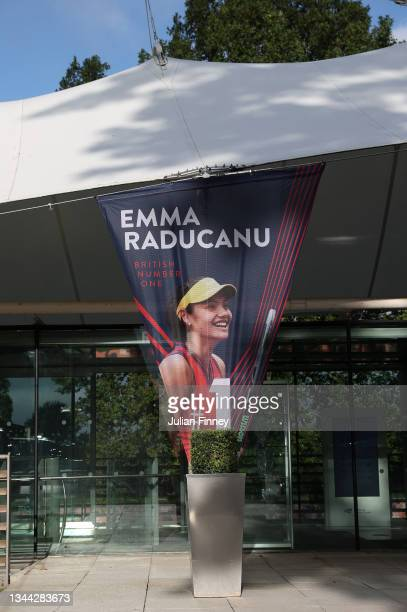 Signage showing the new British number 1 player and US Open champion Emma Raducanu as she returns to the LTA's National Tennis Centre for The...