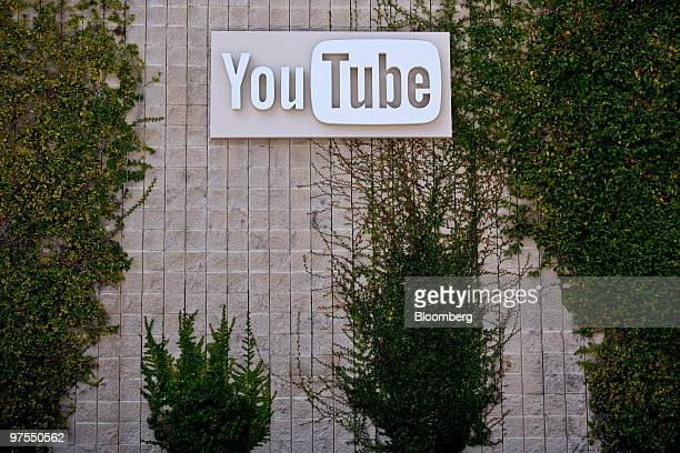 Signage sits on display outside Google Inc's YouTube office building in San Bruno California US on Thursday March 4 2010 The company's YouTubecom...