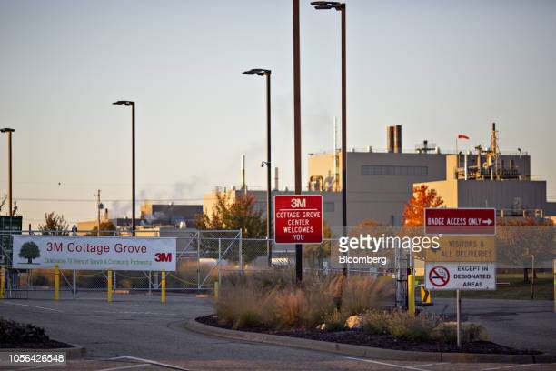 Signage stands at the entrance of the 3M Co Cottage Grove Center in Cottage Grove Minnesota US on Thursday Oct 18 2018 3M's Cottage Grove factory had...