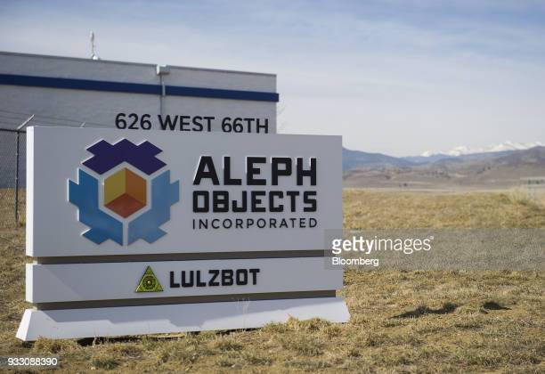 Signage stands on display outside the Aleph Objects Inc LulzBot 3D printers production facility in Loveland Colorado US on Wednesday March 14 2018...