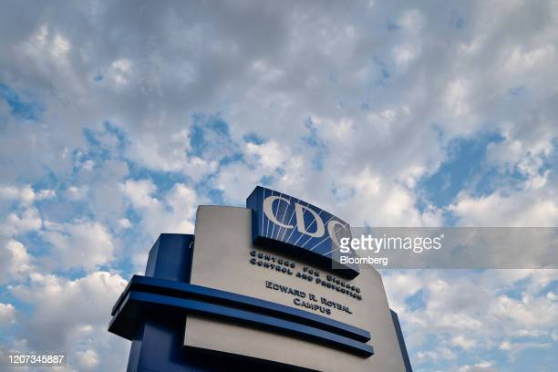 Signage stands outside the Centers for Disease Control and Prevention headquarters in Atlanta, Georgia, U.S, on Saturday, March 14, 2020. As the...