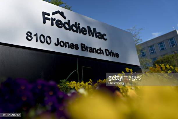 Signage stands outside the Freddie Mac headquarters in McLean Virginia US on Monday May 11 2020 Mortgage rates are at record lows but borrowers...