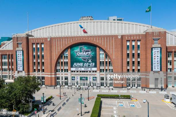 Signage visible on the exterior of the arena as part of the 2018 NHL Draft Hockey Fan Fest presented by Dennys at the American Airlines Center on...
