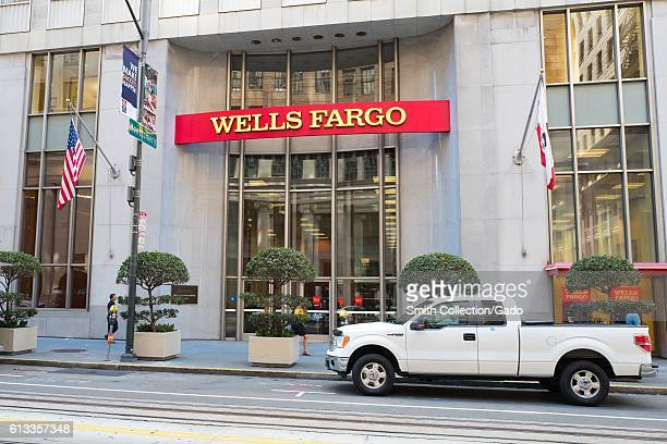 Signage with logo at headquarters of Wells Fargo Capital Finance the commercial banking division of Wells Fargo Bank in the Financial District...