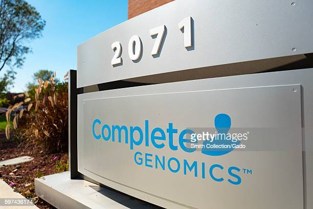 Signage with logo at the headquarters of genome sequencing life science company Complete Genomics in the Silicon Valley town of Mountain View...