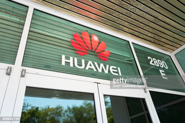 Signage with logo at the Silicon Valley headquarters of Chinese telecommunications company Huawai, Santa Clara, California, August 17, 2017. .