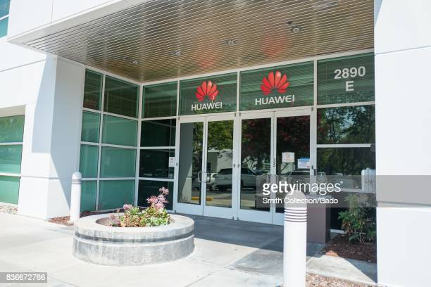 Signage with logo at the Silicon Valley headquarters of Chinese telecommunications company Huawai Santa Clara California August 17 2017
