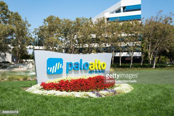Signage with logo at the Silicon Valley headquarters of computer security and firewall company Palo Alto Networks Santa Clara California August 17...