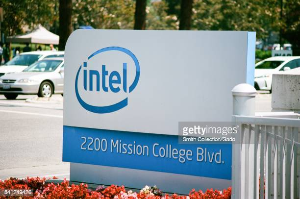 Signage with logo at the Silicon Valley headquarters of computer chip manufacturer Intel Santa Clara California August 17 2017