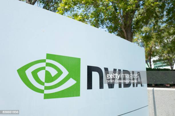 Signage with logo at the Silicon Valley headquarters of computer graphics hardware company Nvidia, Santa Clara, California, August 17, 2017. .