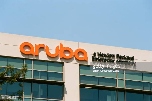 Signage with logo at the Silicon Valley headquarters of Hewlett Packard enterprise company Aruba Networks Santa Clara California August 17 2017