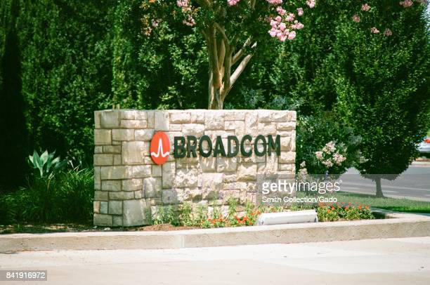 Signage with logo at the Silicon Valley headquarters of semiconductor company Broadcom Santa Clara California August 17 2017