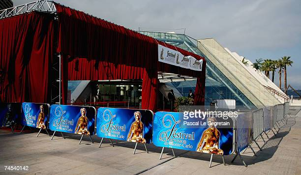 Signages are seen outside the Grimaldi Forum on the first day of the 2007 Monte Carlo Television Festival on June 11 2007 in Monte Carlo Monaco