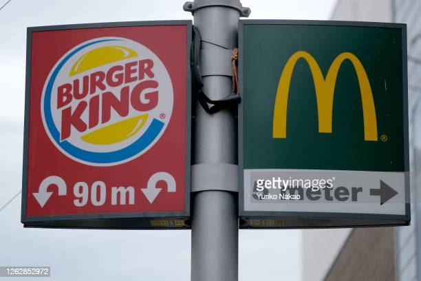 Signages of fast-food restaurants Burger King and McDonald's are pictured on July 27, 2020 in The Hague, Netherlands.
