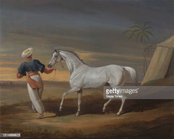 Signal, a Grey Arab, with a Groom in the Desert, David Dalby of York, 1780–1849, British, 1820 or 1829, Oil on panel, Support : 24 1/8 x 34 3/8...