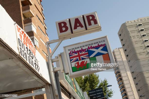 A signal announcing a British pub is seen on July 21 2019 in Benidorm Spain More than 39 million of tourists are expected to visit Spain by the end...
