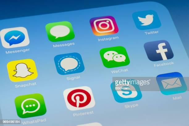 Signal, WeChat et autres médias sociaux Apps sur l'écran de l'iPad