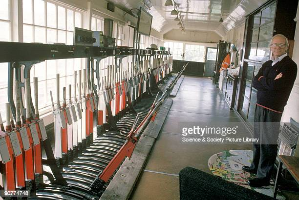 Signalbox at Scarborough Station by Chris Hogg 1994 Signalboxes were usually on two floors with the operating room upstairs This room had very large...