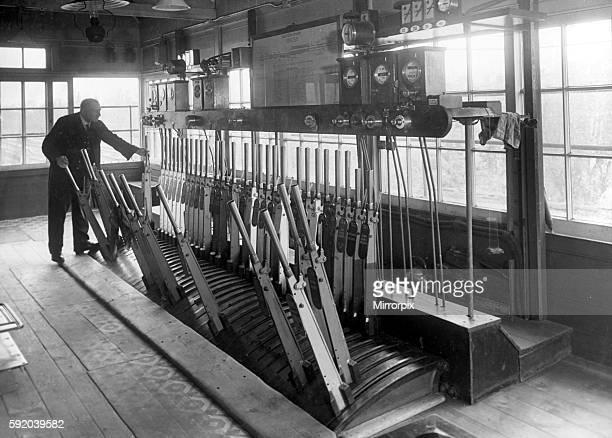 Signalman at work in his Signalbox c1950 P044400 English Railways