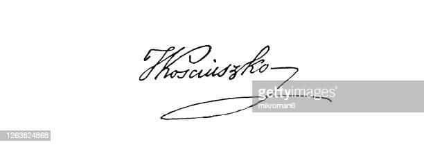 signature of andrzej tadeusz bonawentura kościuszko - prime minister stock pictures, royalty-free photos & images
