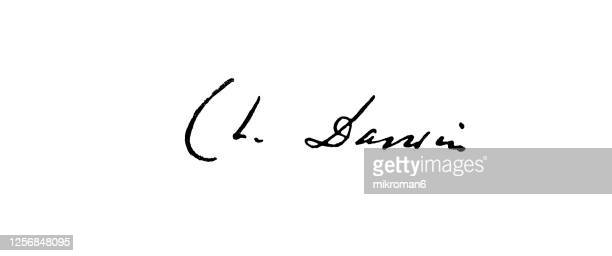 signature of charles robert darwin, british naturalist and scientist - handwriting stock pictures, royalty-free photos & images