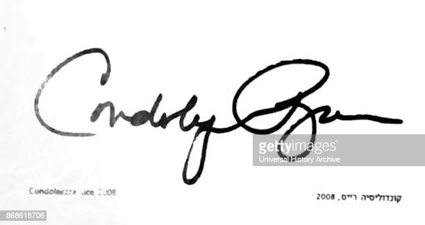 Signature of Condoleezza 'Condi' Rice American political scientist and diplomat She served as the 66th United States Secretary of State The signature...