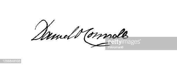 signature of daniel o'connell, irish political leader in the first half of the 19th century. - mayor stock pictures, royalty-free photos & images