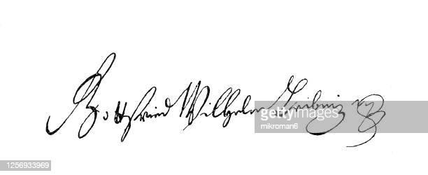signature of gottfried wilhelm leibniz (1646-1716), german philosopher - gottfried wilhelm leibniz stock pictures, royalty-free photos & images