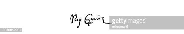 signature of nicolaus copernicus (1473-1543), polish mathematician and astronomer - diplomacy stock pictures, royalty-free photos & images