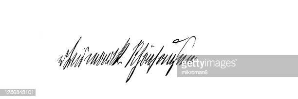 signature of otto eduard leopold von bismarck, chancellor of the german empire - prime minister stock pictures, royalty-free photos & images