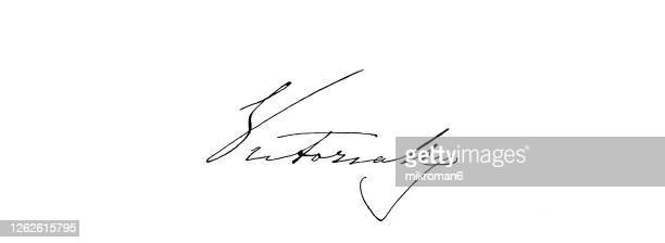signature of queen victoria, queen of the united kingdom of great britain and ireland - queen victoria stock pictures, royalty-free photos & images