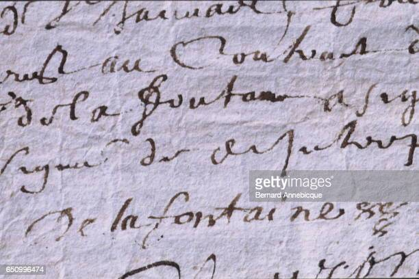 Signature of the most famous French fabulist and poet Jean de La Fontaine.