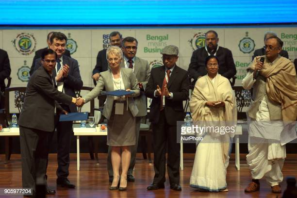 MOU signatures foreign group of industry and present West Bengal Chief Minister Mamata Banerjee and state Finances Minister Amit Mitra at The 2nd day...