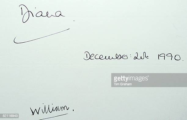Signatures Of Diana Princess Of Wales And Prince William Written In The Visitor's Book When The Princess Patron Of The London Symphony Chorus Took...