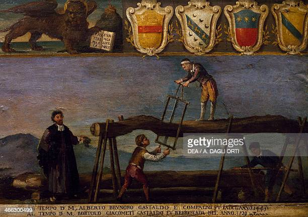 Signboard of the Guild of wood sawing. Italy, 17th century.