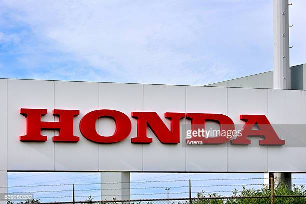 Signboard of the Honda assembly plant at the Ghent seaport Belgium