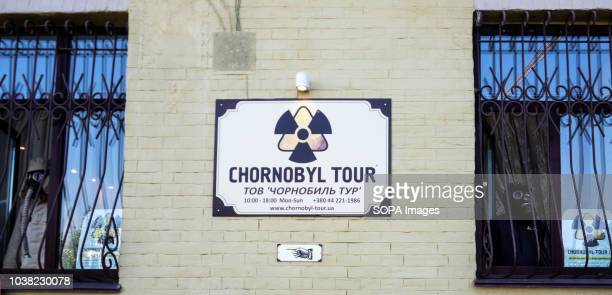 A signboard of the tourist bureau offering trips to the Chernobyl nuclear power plant
