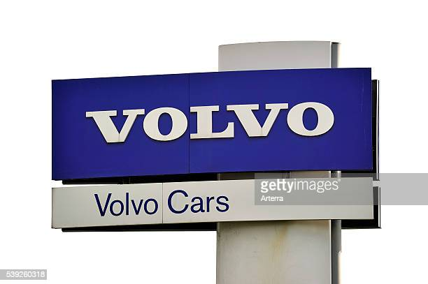 Signboard of the Volvo Cars assembly plant at the Ghent seaport Belgium