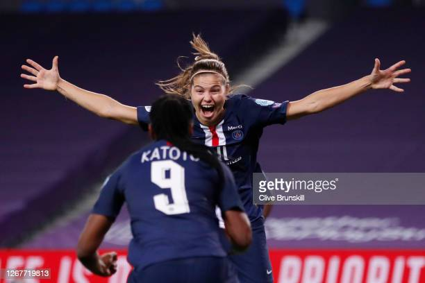 Signe Bruun of Paris Saint-Germain celebrates with teammate Marie-Antoinette Katoto after scoring her team's second goal during the UEFA Women's...