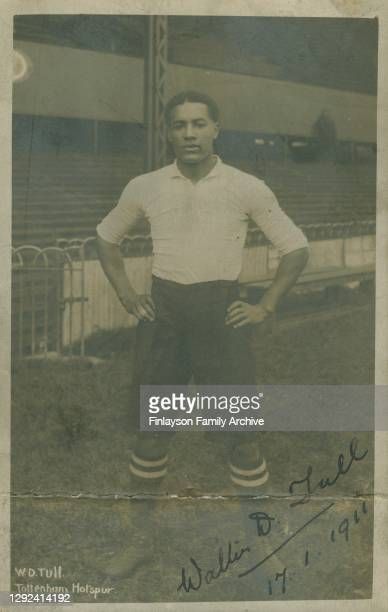 Signed and dated photo of footballer Walter Tull at White Hart Lane in his Tottenham Hotspur Strip, 17th January 1911. This photo is a postcard sent...
