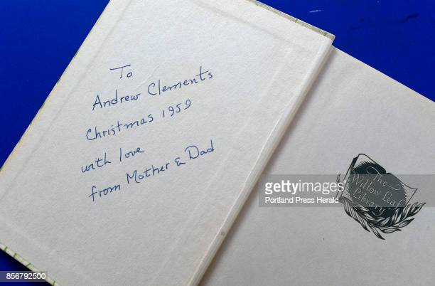 A signed book to Andrew Clements from his parents from the Christmas of 1959 Photographed Tuesday September 12 2017