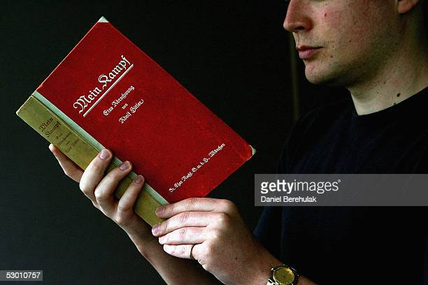 A signed copy of Adolph Hitler's Mein Kampf is displayed on June 02 2005 in London England The Vol 1 First Edition signed by Hitler is one of a few...