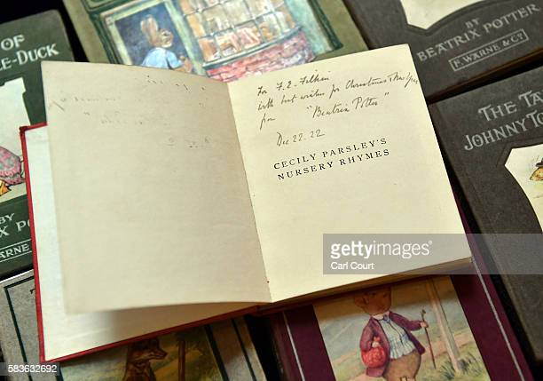 A signed first edition of Cecily Parsley's Nursery Rhymes by Beatrix Potter is displayed at Dreweatts and Bloomsbury Auctions on July 27 2016 in...